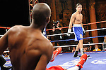 Bronx, NY, Dec. 6th, 2007: Sergio Martinez (Blue trunk) knocks Russell Jordan down during their 10 Rounds Jr. Middleweights fight at the Utopia Paradise Theater. Martinez won by 4th round TKO. Photo by Thierry Gourjon.