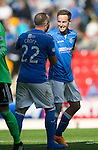 St Johnstone v Aberdeen...23.08.14  SPFL<br /> Birthday boy Steven MacLean celebrates at full time with Lee Croft<br /> Picture by Graeme Hart.<br /> Copyright Perthshire Picture Agency<br /> Tel: 01738 623350  Mobile: 07990 594431