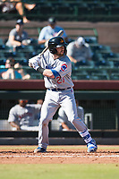 Mesa Solar Sox second baseman Trent Giambrone (27), of the Chicago Cubs organization, at bat during an Arizona Fall League game against the Scottsdale Scorpions at Scottsdale Stadium on November 2, 2018 in Scottsdale, Arizona. The shortened seven-inning game ended in a 1-1 tie. (Zachary Lucy/Four Seam Images)