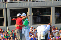 Rory McIlroy (NIR) hugs caddy J.P.Fitzgerald  after winning the tournament with a score of -13 and 8 shots clear of the field at the end of Sunday's Final Round of the 94th PGA Golf Championship at The Ocean Course, Kiawah Island, South Carolina, USA 11th August 2012 (Photo Eoin Clarke/www.golffile.ie)