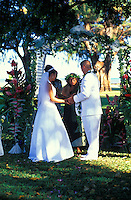 Local couple getting married  at the Waimea Plantation Cottages on the west side of the island of Kauai