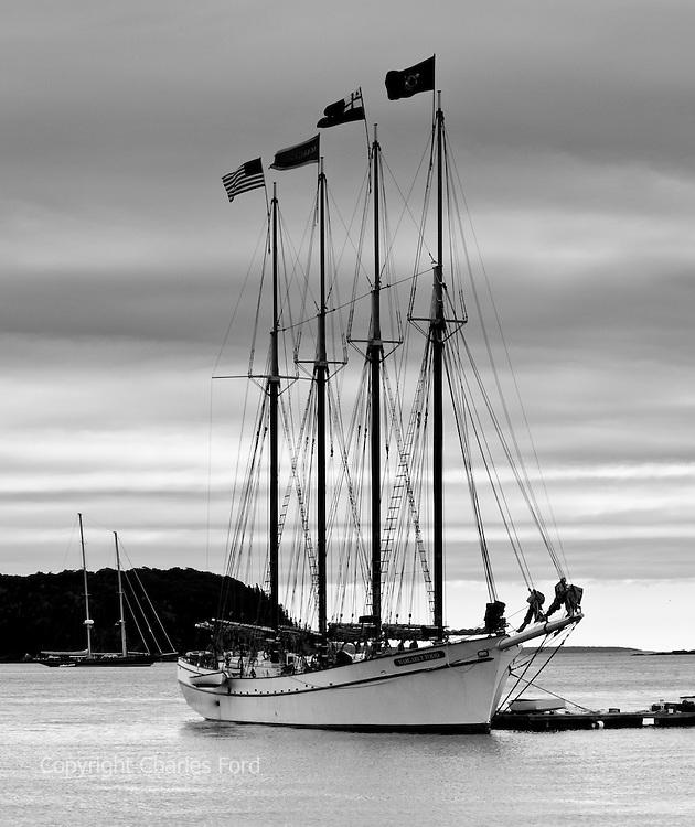 Monochrome image of the Margaret Todd, a schooner in Bar Harbor, Maine.