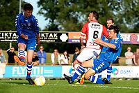 EMMEN - Voetbal, VV Emmen - FC Emmen, voorbereiding seizoen 2018-2019, 07-07-2018,  FC Emmen speler Anco Jansen wordt onderuit gehaald en krijgt strafschop
