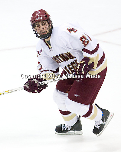 Benn Ferriero (Boston College - Essex, MA) - The Boston College Eagles defeated the Miami University Redhawks 4-0 in the 2007 NCAA Northeast Regional Final on Sunday, March 25, 2007 at the Verizon Wireless Arena in Manchester, New Hampshire.