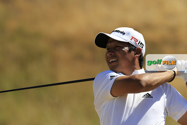 Andres Romero (ARG) tees off the 7th tee during Sunday's Final Round of the 2015 U.S. Open 115th National Championship held at Chambers Bay, Seattle, Washington, USA. 6/21/2015.<br /> Picture: Golffile | Eoin Clarke<br /> <br /> <br /> <br /> <br /> All photo usage must carry mandatory copyright credit (&copy; Golffile | Eoin Clarke)
