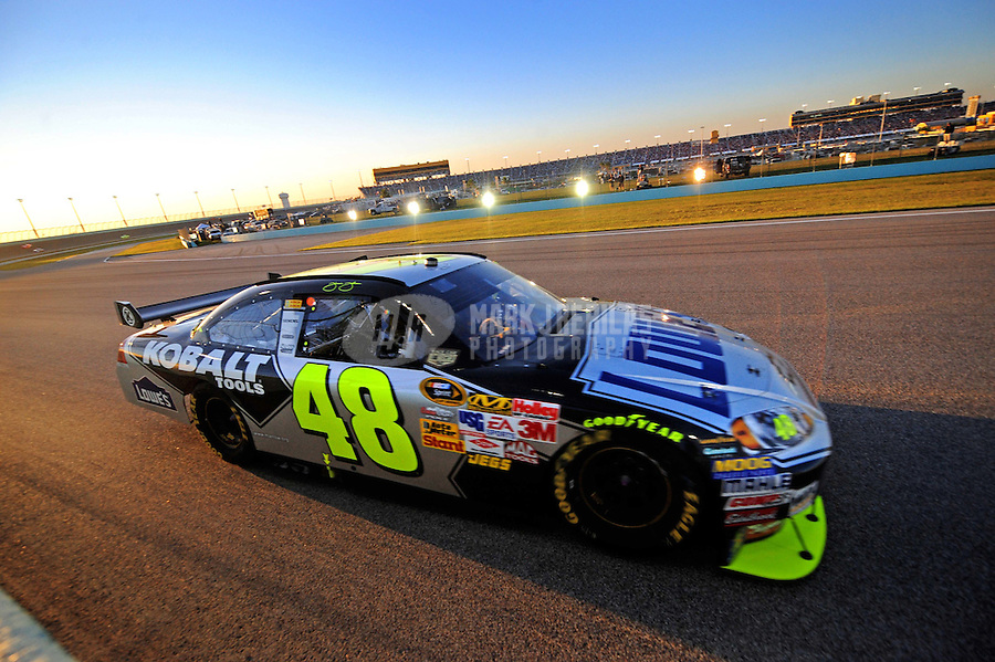 Nov. 16, 2008; Homestead, FL, USA; NASCAR Sprint Cup Series driver Jimmie Johnson during the Ford 400 at Homestead Miami Speedway. Mandatory Credit: Mark J. Rebilas-