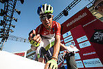 Race leader Red Jersey Esteban Chaves (COL) Orica GreenEdge at sign on before the start of Stage 4, The Yas Stage, of the 2015 Abu Dhabi Tour running 110 km 20 laps around the Yas Marina Circuit, Abu Dhabi. 11th October 2015.<br /> Picture: ANSA/Claudio Peri | Newsfile