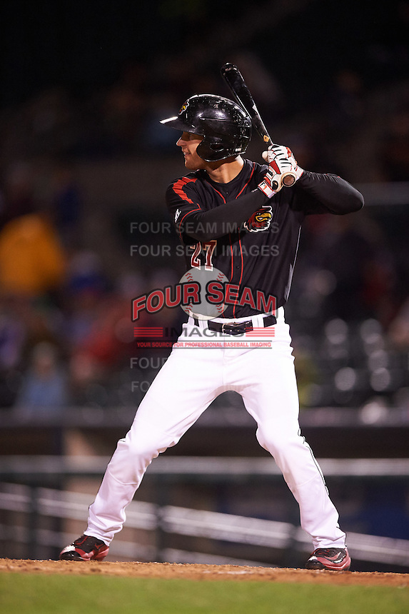 Rochester Red Wings right fielder Logan Schafer (27) at bat during a game against the Syracuse Chiefs on July 1, 2016 at Frontier Field in Rochester, New York.  Rochester defeated Syracuse 5-3.  (Mike Janes/Four Seam Images)