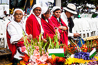 A group of silleteros wait for participate on the 58th Silleteros' parade in the framework of the flowers' fair, this year the parade was declared intangible heritage of Colombia. Medellín, Colombia 09/08/2015