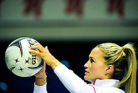 England wing attack Chelsea Pitman warms up for the Quad Series netball match between the New Zealand Silver Ferns and England Roses at Trusts Stadium, Auckland, New Zealand on Wednesday, 30 August 2017. Photo: Dave Lintott / lintottphoto.co.nz