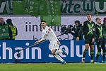 01.12.2019, Volkswagen Arena, Wolfsburg, GER, 1.FBL, VfL Wolfsburg vs SV Werder Bremen<br /> <br /> DFL REGULATIONS PROHIBIT ANY USE OF PHOTOGRAPHS AS IMAGE SEQUENCES AND/OR QUASI-VIDEO.<br /> <br /> im Bild / picture shows<br /> Jubel 2:3, <br /> Milot Rashica (Werder Bremen #07) bejubelt seinen Treffer zum 2:3, <br /> <br /> Foto © nordphoto / Ewert