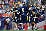FOXBORO, MA - MAY 28: Members of the Merrimack Warriors react after scoring a goal during the Division II Men's Lacrosse Championship held at Gillette Stadium on May 28, 2017 in Foxboro, Massachusetts. (Photo by Larry French/NCAA Photos via Getty Images)