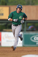 Beloit Snappers catcher Matt Koch #21 rounds the bases after hitting a home run during a game against the Kane County Cougars at Fifth Third Bank Ballpark on June 26, 2012 in Geneva, Illinois. Beloit defeated Kane County 8-0. (Brace Hemmelgarn/Four Seam Images)