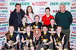 The Gaelscoil Aogain team that won Junior NS Girls final at the St Marys Basketball Blitz on Saturday fron row l-r: Rachel Ní hÓrgain, Holly Ní hórain, Erin Ní Muincheain, Deirdre Ní Muincheain. Back row: Tomas O Conchuir, Lucy Nic Connaith,  Leanne Cahill-O'Connor Miss Basketball,  Grainne Ní Shé, Fiona O'Connor, Caitlyn Swansee and Denny Porter coach