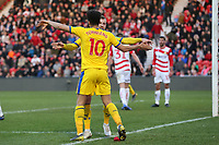 Max Meyer of Crystal Palace is congratulated after scoring the second goal during Doncaster Rovers vs Crystal Palace, Emirates FA Cup Football at the Keepmoat Stadium on 17th February 2019