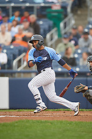 Trenton Thunder shortstop Wendell Rijo (12) follows through on a swing during a game against the New Hampshire Fisher Cats on August 19, 2018 at ARM & HAMMER Park in Trenton, New Jersey.  New Hampshire defeated Trenton 12-1.  (Mike Janes/Four Seam Images)