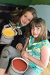 Katie and Niamh from Buíon Setanta Scout Group painting a mural at the Scout Hall as part of the Dulux Let's Colour Project...(Photo credit should read Jenny Matthews www.newsfile.ie)....This Picture has been sent you under the conditions enclosed by:.Newsfile Ltd..The Studio,.Millmount Abbey,.Drogheda,.Co Meath..Ireland..Tel: +353(0)41-9871240.Fax: +353(0)41-9871260.GSM: +353(0)86-2500958.email: pictures@newsfile.ie.www.newsfile.ie.