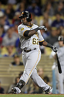 Pittsburgh Pirates second baseman Josh Harrison #62 bats against the Los Angeles Dodgers at Dodger Stadium on September 17, 2011 in Los Angeles,California. Los Angeles defeated Pittsburgh 6-1.(Larry Goren/Four Seam Images)