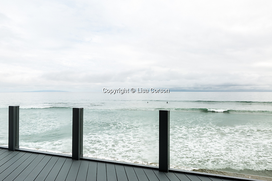 A view of the Pacific Ocean from the main floor's balcony at Geraldine Gilliland's beachside home, Malibu, Calif. March 5, 2016.