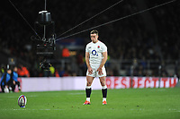 George Ford of England takes a conversion attempt as the spider cam keeps a close eye on him during the Guinness Six Nations match between England and Italy at Twickenham Stadium on Saturday 9th March 2019 (Photo by Rob Munro/Stewart Communications)