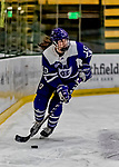 16 February 2019: Holy Cross Crusader Forward Amanda Kewer, a Senior from Oakdale, CT, in action against the University of Vermont Catamounts at Gutterson Fieldhouse in Burlington, Vermont. The Lady Cats defeated the Crusaders 4-1 to sweep their 2-game weekend series. Mandatory Credit: Ed Wolfstein Photo *** RAW (NEF) Image File Available ***