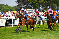 Winner of The Think Cars Ssangyong Paddock Area Display Handicap,Edged Out ridden by Mitch Godwin and trained by Christopher Mason  during Father's Day Racing at Salisbury Racecourse on 18th June 2017