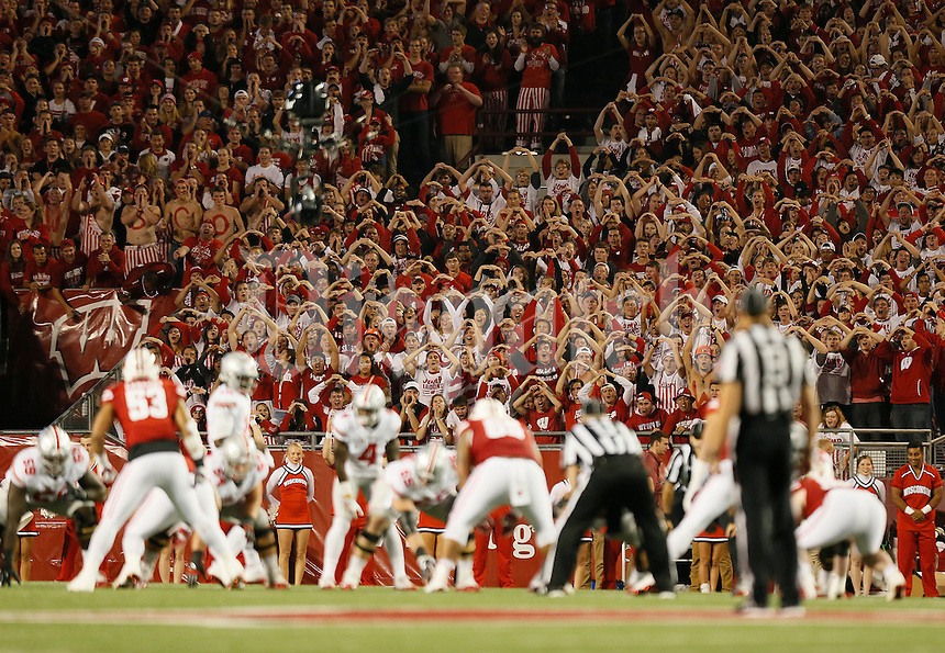 Wisconsin Badgers students cheer during the first quarter of the NCAA football game against the Ohio State Buckeyes at Camp Randall Stadium in Madison, Wisconsin on Oct. 15, 2016. (Adam Cairns / The Columbus Dispatch)