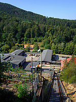 Blick vom Schrägaufzug, Rammelsberg, Museum und Besucherbergwerk, Goslar, Niedersachsen, Deutschland, Europa, UNESCO-Weltkulturerbe<br /> View frim lift, Rammelsberg - Museum and show mine, Goslar, Lower Saxony,, Germany, Europe, UNESCO Heritage Site