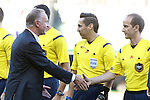 06 August 2014: Bayern Munich chairman Karl-Heinz Rummenigge (left) shakes hands with Assistant referee Claudiu Badea (right). The Major League Soccer All-Stars played Bayern Munich of the German Bundesliga at Providence Park in Portland, Oregon in the 2014 MLS All-Star Game. The MLS All-Stars won the game 2-1.