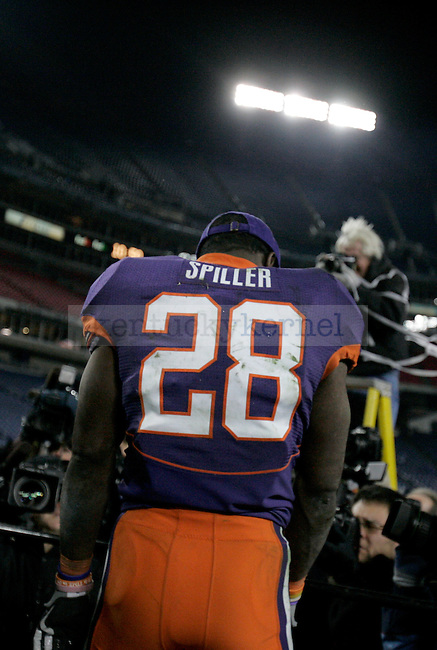 Clemson's senior running back C.J. Spiller faces the media when he was named MVP after the 21-13 win over UK at L. P. Field for the Gaylord Hotels Music City Bowl on Sunday, Dec. 27, 2009. Photo by Adam Wolffbrandt | Staff