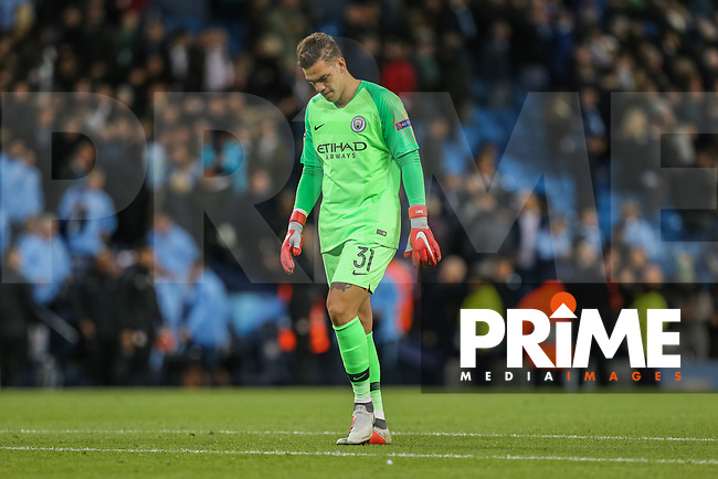 Goalkeeper Ederson Santana EDERSON of Manchester City looks dejected during the UEFA Champions League match between Manchester City and Olympique Lyonnais at the Etihad Stadium, Manchester, England on 19 September 2018. Photo by David Horn / PRiME Media Images.