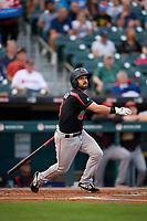 Rochester Red Wings Mike Miller (8) at bat during an International League game against the Buffalo Bisons on August 26, 2019 at Sahlen Field in Buffalo, New York.  Buffalo defeated Rochester 5-4.  (Mike Janes/Four Seam Images)