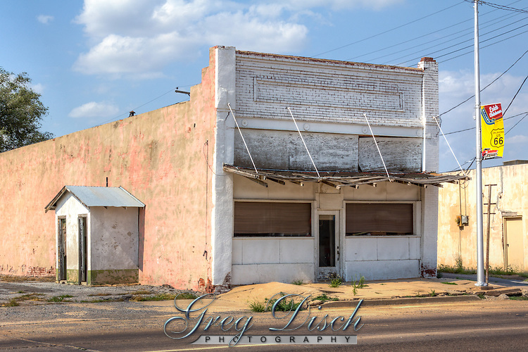 Old buildings on Route 66 in Erick Oklahoma.