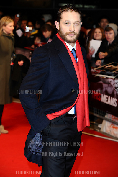 "Tom Hardy arriving for the UK premiere of ""This Means War"" at the Odeon Kensington..January 30, 2012 London, UK.Picture: Steve Vas / Featureflash"