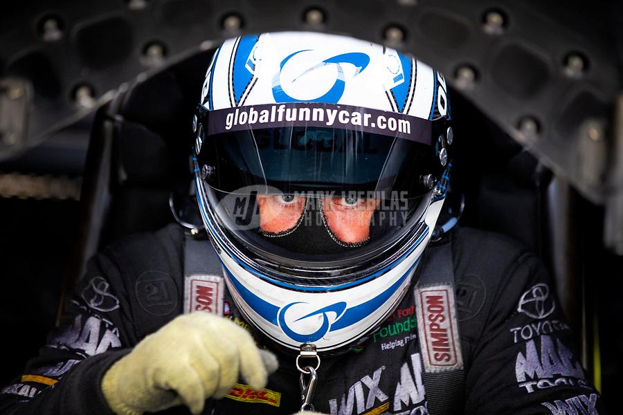 May 18, 2018; Topeka, KS, USA; NHRA funny car driver Shawn Langdon during qualifying for the Heartland Nationals at Heartland Motorsports Park. Mandatory Credit: Mark J. Rebilas-USA TODAY Sports