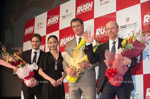 January 30, 2014 : Tokyo, Japan - Miki Ando, Chris Hemsworth, Daniel Bruhl, and Ron Howard appear at the Japan Premiere for RUSH by Ron Howard in the Yurakucho Marion, Tokyo, Japan. (Photo by Yumeto Yamazaki/NipponNews)