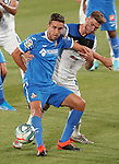 Getafe CF's Jaime Mata (l) and Atalanta BC's Robin Gosens during friendly match. August 10,2019. (ALTERPHOTOS/Acero)