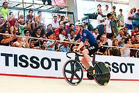 Picture by Alex Whitehead/SWpix.com - 10/12/2017 - Cycling - UCI Track Cycling World Cup Santiago - Velódromo de Peñalolén, Santiago, Chile - USA's Daniel Holloway wins Gold in the Men's Omnium. Tissot branding.