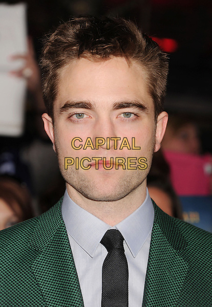 "Robert Pattinson.""The Twilight Saga: Breaking Dawn - Part 2"" Los Angeles Premiere held at Nokia Theatre L.A. Live, Los Angeles, California, USA..November 12th, 2012.headshot portrait stubble facial hair blue shirt black green suit tie .CAP/ROT/TM.©Tony Michaels/Roth Stock/Capital Pictures"