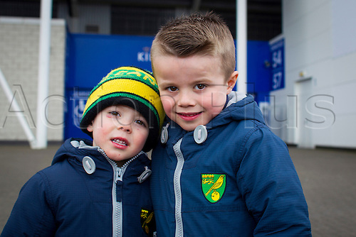27.02.2016. King Power Stadium, Leicester, England. Barclays Premier League. Leicester City versus Norwich City.  Young Norwich City fans pictured outside the King Power Stadium before kick off.