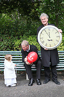 "NO REPRO FEE. World Alzheimer Day launch. 2 year old Ava O Donnell, RTE presenter Micheál O'Muircheartaigh and Fair City's Bryan Murray are pictured in Merrion Square Dublin to discuss a landmark report entitled ""Dementia: It's time for action!"" to mark  World Alzheimer's Day 21 September. Picture James Horan /Collins Photos"