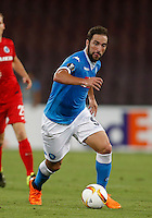 Napoli's Gonzalo Higuain  controls the ball during the Europa  League Group D soccer match against Brugge  at the San Paolo  Stadium in Naples September 17, 2015