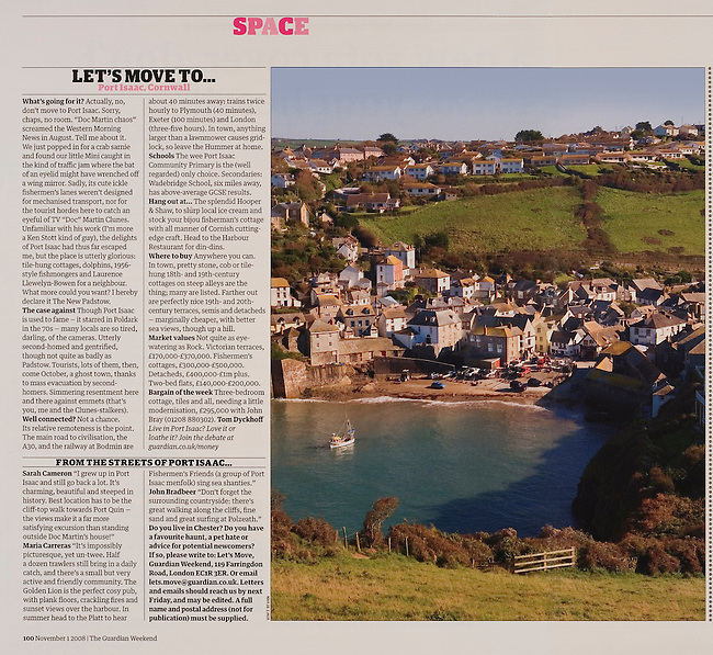 Port Issac, Cornwall, commissioned by<br />  THE GUARDIAN WEEKEND MAGAZINE.