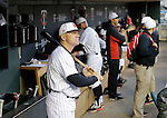 Maryland head coach John Szefc looks out of the dugout before a Big 10 tournament baseball game against Michigan State in Minneapolis, Wednesday, May 20, 2015. ( Photo/Ann Heisenfelt)