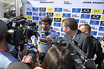 World Champion Peter Sagan (SVK) Bora-Hansgrohe talks to the media at the team presentation before the 116th edition of Paris-Roubaix 2018. 7th April 2018.<br /> Picture: ASO/Pauline Ballet | Cyclefile<br /> <br /> <br /> All photos usage must carry mandatory copyright credit (&copy; Cyclefile | ASO/Pauline Ballet)