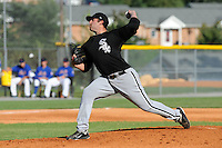 Bristol White Sox starting pitcher Todd Kibby #31 delivers a pitch during a game against the Kingsport Mets at Hunter Wright Stadium on July 28, 2012 in Kingsport, Tennessee. The Mets defeated the White Sox 9-5. (Tony Farlow/Four Seam Images).