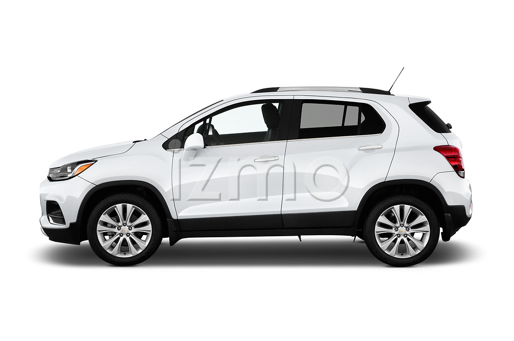 Car driver side profile view of a 2019 Chevrolet Trax Premier 5 Door SUV