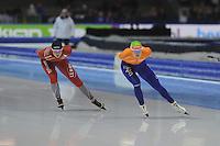 SCHAATSEN: HEERENVEEN: IJsstadion Thialf, 16-11-2012, Essent ISU World Cup, Season 2012-2013, Ladies 3000 meter Division A, Ida Njåtun (NOR), Marije Joling (NED), ©foto Martin de Jong