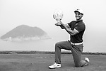 James Marchesani of Australia celebrates with his trophy after winning the Clearwater Bay Open PGA Tour 2017 at Clearwater Bay on November 5, 2017 in Hong Kong, China. Photo by Marcio Rodrigo Machado / Power Sport Images<br /> <br /> <br /> (EDITORS NOTE: THIS IMAGES HAS BEEM CHANGE FOR B&amp;W THROUGH LIGHTROOM)