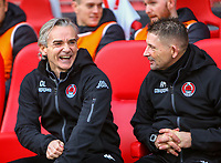 9th February 2020; Broadwood Stadium, Cumbernauld, North Lanarkshire, Scotland; Scottish Cup Football, Clyde versus Celtic; Clyde Manager Danny Lennon has a laugh on the bench